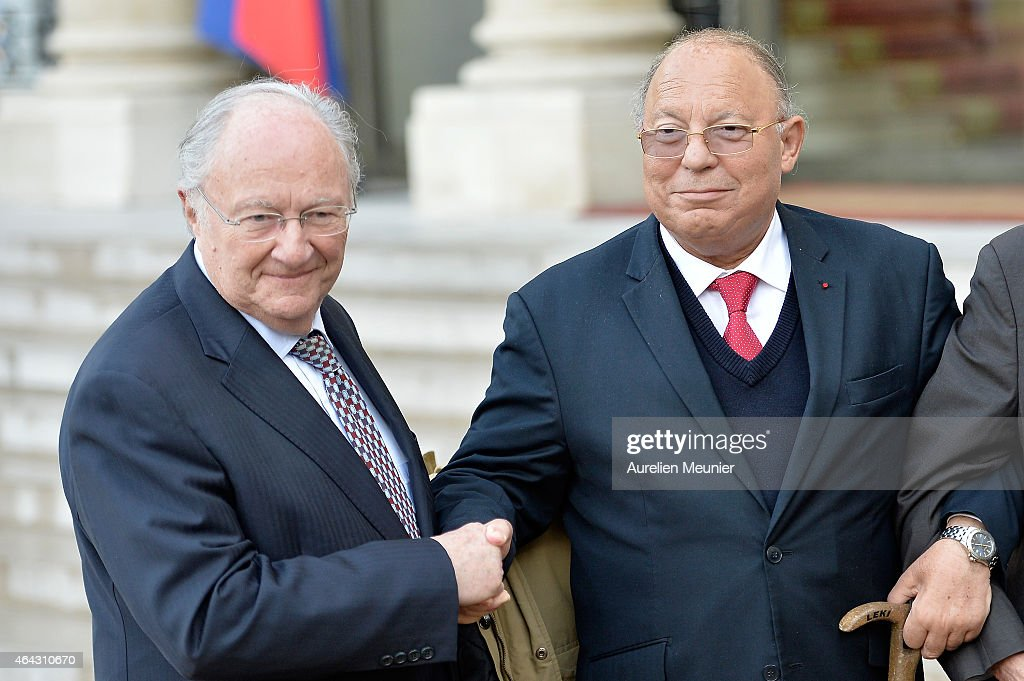 French President Francois Hollande and French Interior Minister, <a gi-track='captionPersonalityLinkClicked' href=/galleries/search?phrase=Bernard+Cazeneuve&family=editorial&specificpeople=4205153 ng-click='$event.stopPropagation()'>Bernard Cazeneuve</a> receives Roger Cukierman (L), President of the CRIF, Representative Council of French Jewish Institutions, and <a gi-track='captionPersonalityLinkClicked' href=/galleries/search?phrase=Dalil+Boubakeur&family=editorial&specificpeople=539922 ng-click='$event.stopPropagation()'>Dalil Boubakeur</a> (R), Paris Mosque Rector at Elysee Palace on February 24th, 2015 in Paris, France. Yesterday before the CRIF yearly dinner, Roger Cukierman commented that most of the violent, anti semitic acts were made by young Muslims. Following the comment <a gi-track='captionPersonalityLinkClicked' href=/galleries/search?phrase=Dalil+Boubakeur&family=editorial&specificpeople=539922 ng-click='$event.stopPropagation()'>Dalil Boubakeur</a> refused to attend the CRIF yearly dinner.