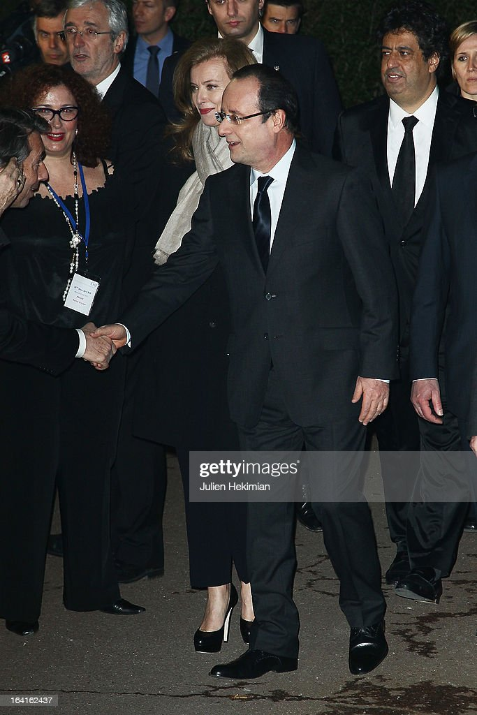 French President Francois Hollande and his wife Valerie Trierweiler attend the 28th Dinner of 'Conseil Rrepresentatif Des Institutions Juives De France at Pavillon d'Armenonville on March 20, 2013 in Paris, France.