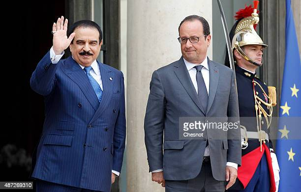 French President Francois Hollande and King Hamad Bin Isa Al Khalifa of Bahrain leave after their meeting at the Elysee Palace on September 08 2015...