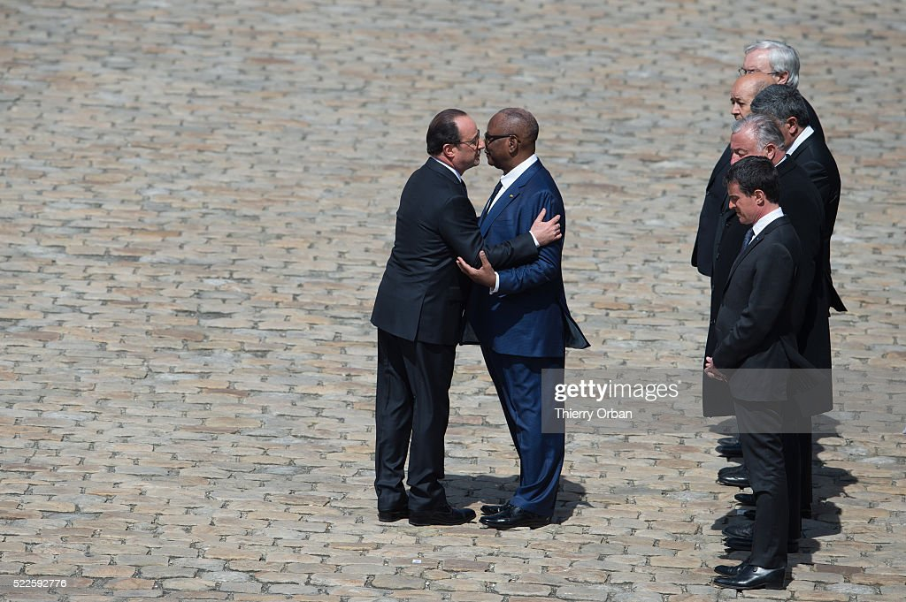 French President Francois Hollande and Malian President Ibrahim Boubacar Keita pay tribute to the soldiers killed in Mali on April 13, at Les Invalides on April 20, 2016 in Paris, France. Three French soldiers died after their armored car exploded on a mine in Mali. 3500 French soldiers are deployed in the Sahel for the operation BARKHANE to fight jihadist Islamic terrorists.