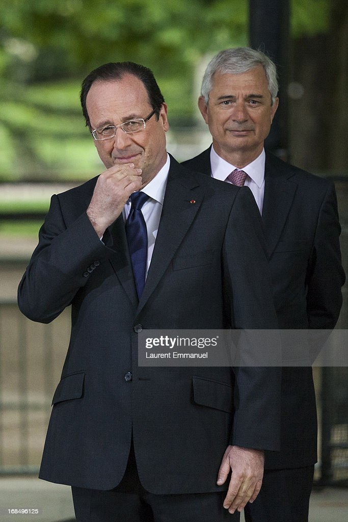 French President Francois Hollande (L) and President of the French National Assembly <a gi-track='captionPersonalityLinkClicked' href=/galleries/search?phrase=Claude+Bartolone&family=editorial&specificpeople=551950 ng-click='$event.stopPropagation()'>Claude Bartolone</a> attend a ceremony marking the abolition of slavery in the Jardins du Luxembourg on May 10, 2013 in Paris, France. Taubira Law was passed in May 2001 acknowledging slavery and the Atlantic slave trade as crimes against humanity.