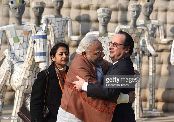 French President Francois Hollande and Prime Minister Narendra Modi at Rock Garden on January 24 2016 in Chandigarh India Hollande was joined by PM...