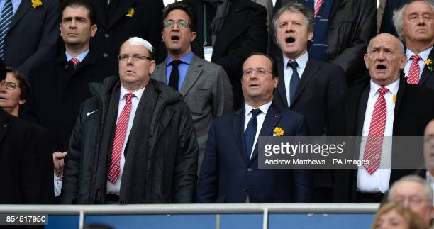 French President Francois Hollande and Prince Albert II of Monaco in the stands before kick off