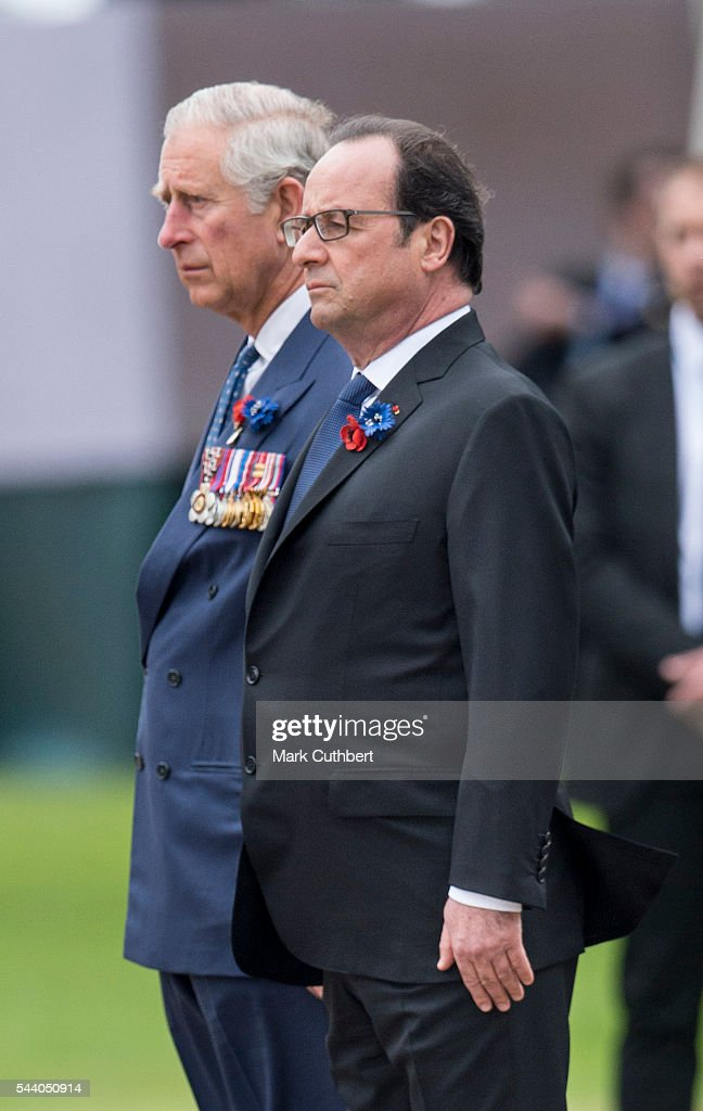 French President Francois Hollande and <a gi-track='captionPersonalityLinkClicked' href=/galleries/search?phrase=Prince+Charles+-+Prince+of+Wales&family=editorial&specificpeople=160180 ng-click='$event.stopPropagation()'>Prince Charles</a>, Prince of Wales attend a Commemoration of the Centenary of the Battle of the Somme at The Commonwealth War Graves Commission Thiepval Memorial on July 01, 2016 in Thiepval, France.