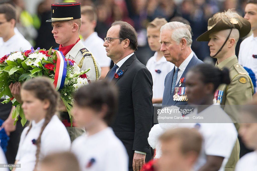 French President Francois Hollande and Prince Charles, Prince of Wales during the Commemoration of the Centenary of the Battle of the Somme at the Commonwealth War Graves Commission Thiepval Memorial on July 1, 2016 in Thiepval, France.