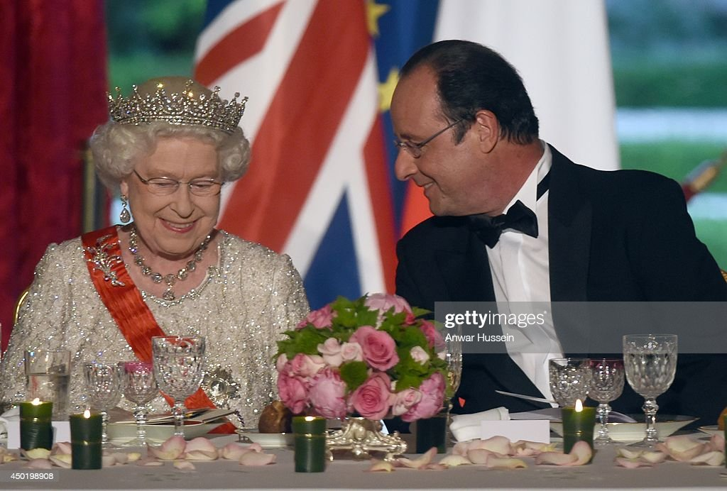 French President Francois Hollande and Queen Elizabeth ll attend a State Banquet at the Elysee Palace on June 6, 2014 in Paris, France.