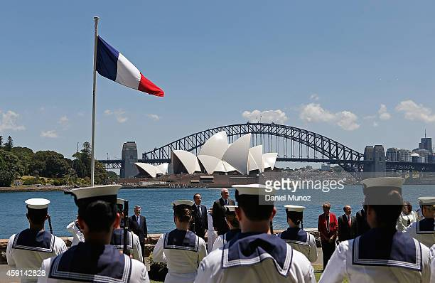 French President Francois Hollande andAustralian Governor General Peter Cosgrove receive Military Honors at the Fleet Steps Royal Botanic Gardens on...