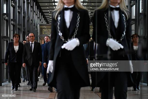 French president Francois Hollande arrives at the Ministry of Economy on November 24 2016 in Paris to deliver a speech on social contracts of...