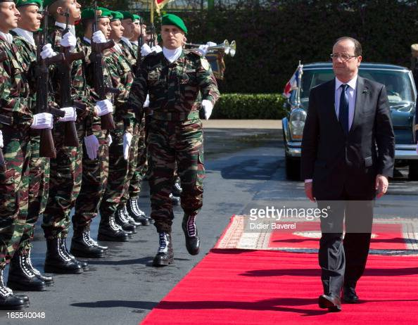 French President Francois Hollande arrives for a meeting with Moroccan Prime Minister Abdelilah Benkirane during an Official Two Day Visit In Morocco...