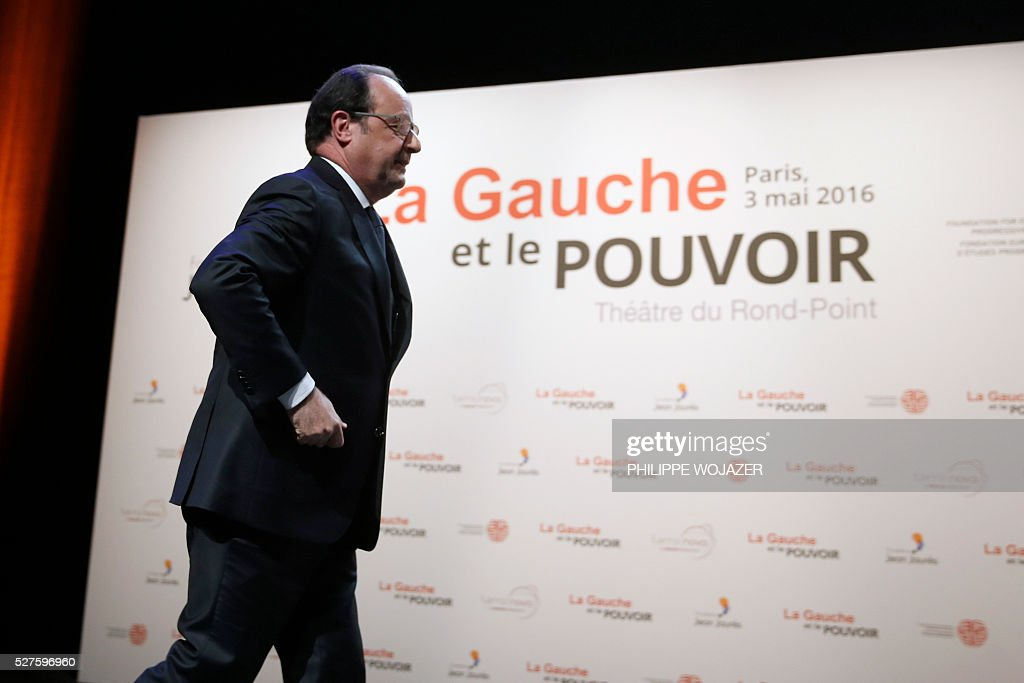 French President Francois Hollande arrives for delivering a speech during the conference 'Left wing and Power' at the Jean-Jaures Foundation in Paris, on May 3, 2016. / AFP / POOL / PHILIPPE
