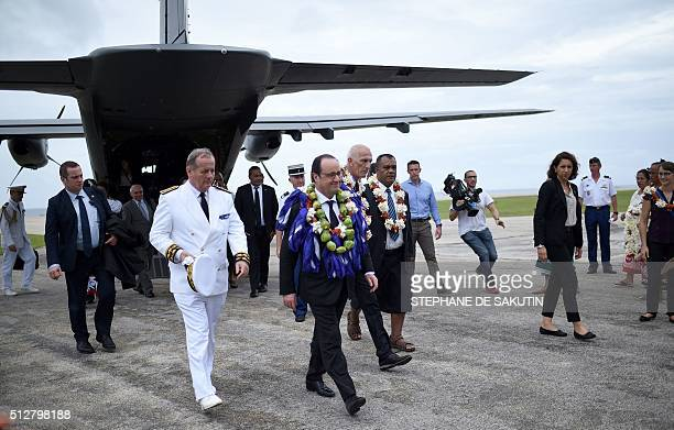 French President Francois Hollande arrives in Futuna island on February 22 for his twodays visit in the French overseas territory of the Wallis and...
