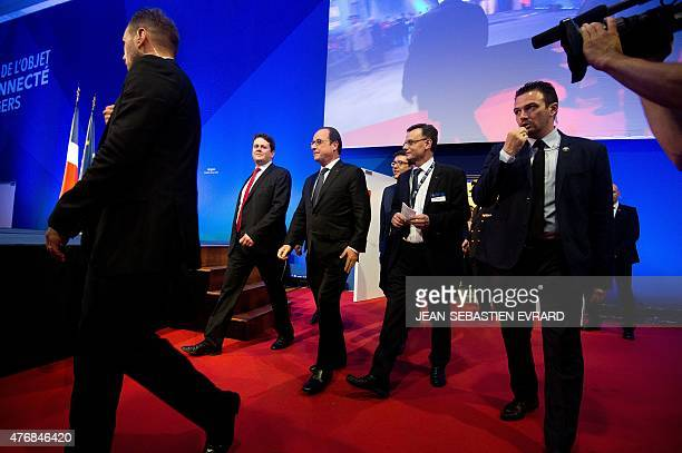 French President Francois Hollande arrives to delivers a speech during the inauguration of the 'Cite de l'Objet Connecte' in SaintSylvaind'Anjoy near...