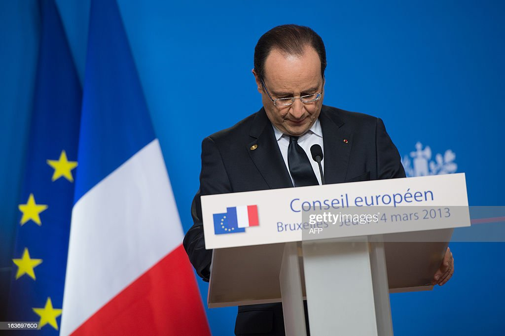 French President Francois Hollande attends a press conference at the EU Headquarters on March 14, 2013 in Brussels, during a two-day European Union leaders summit. European Union leaders try Thursday to find a difficult balance between austerity policies adopted to cut debt and calls to spend more to generate growth and jobs in an economy stuck in the doldrums.