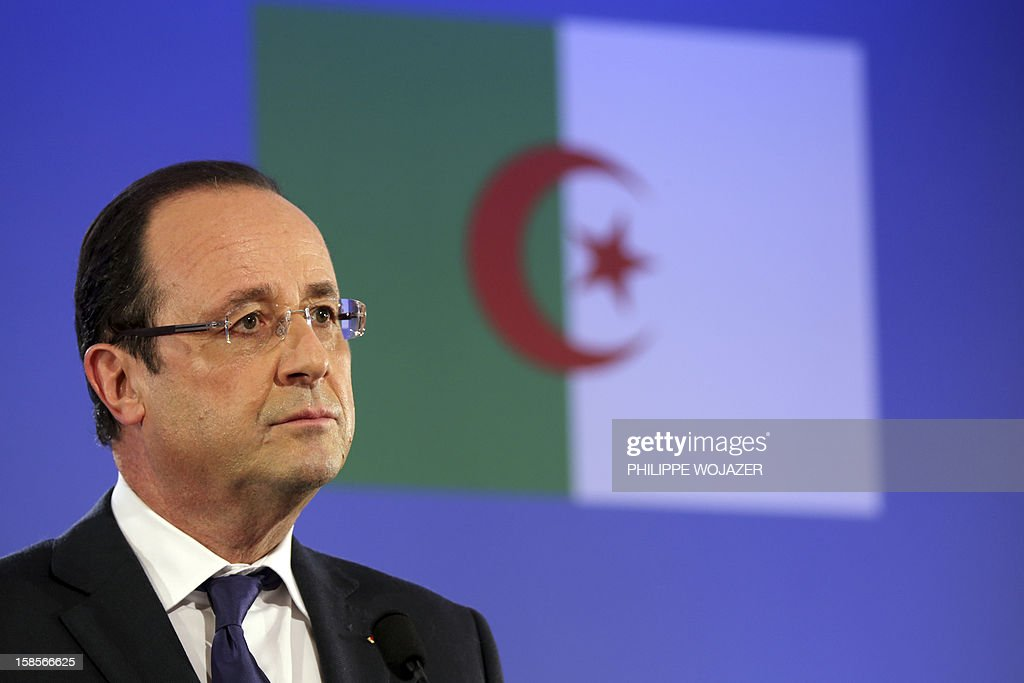 French President Francois Hollande attends a press conference in Algiers on December 19, 2012 as part of the first day of his state visit to Algeria. President Francois Hollande travels to Algeria on Wednesday to try to heal wounds left by a bloody war of independence half a century ago and to seek greater access to the former colony's oil wealth in an attempt to lift France's own flagging economy.