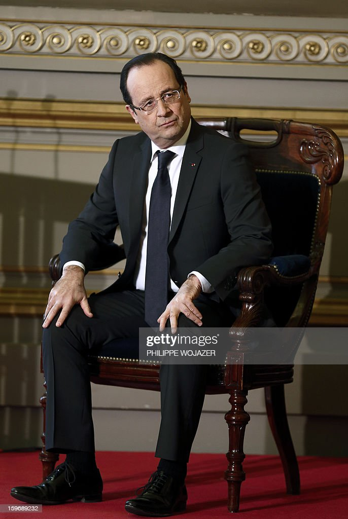 French President Francois Hollande attends at the traditional New Year ceremony which reopens France's highest court (Cour de Cassation) in Paris, on January 18, 2013.