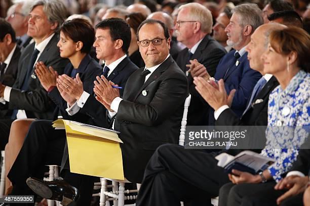French President Francois Hollande attends in Paris on September 10 the opening of the event 'La France s'engage pour le climat En avant la COP21'...