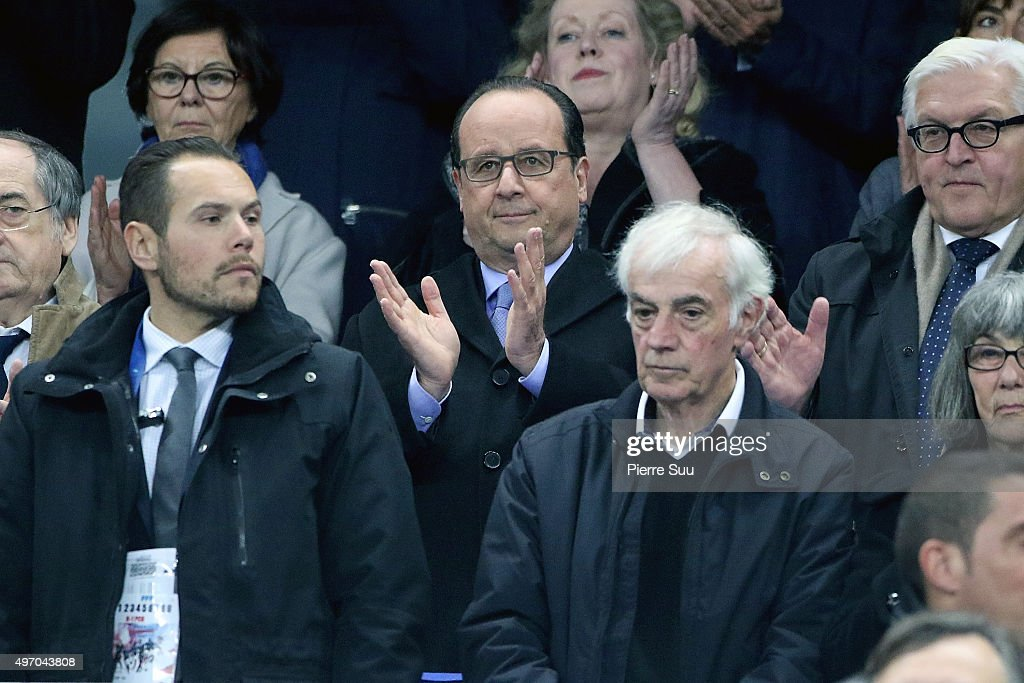 French President Francois Hollande attends the France v Germany International frendly football match at Stade de France on November 13 2015 in Paris...