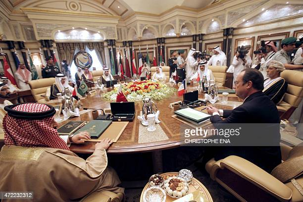 French President Francois Hollande attends the Gulf cooperation council summit in Riyadh Saudi Arabia on May 5 2015 France and Saudi Arabia are...