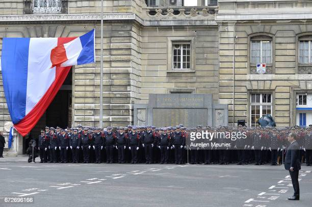 French President Francois Hollande attends the National tribute to fallen French Policeman Xavier Jugele on April 25 2017 in Paris France French...