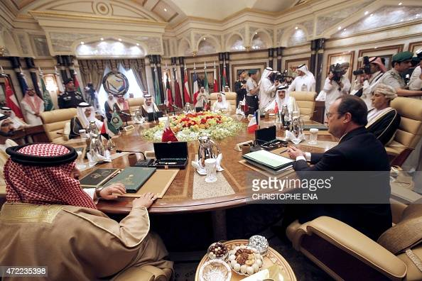 French President Francois Hollande attends the summit of the Gulf Cooperation Council on May 5 2015 in Riyadh Hollande is the guest of honor of GCC...