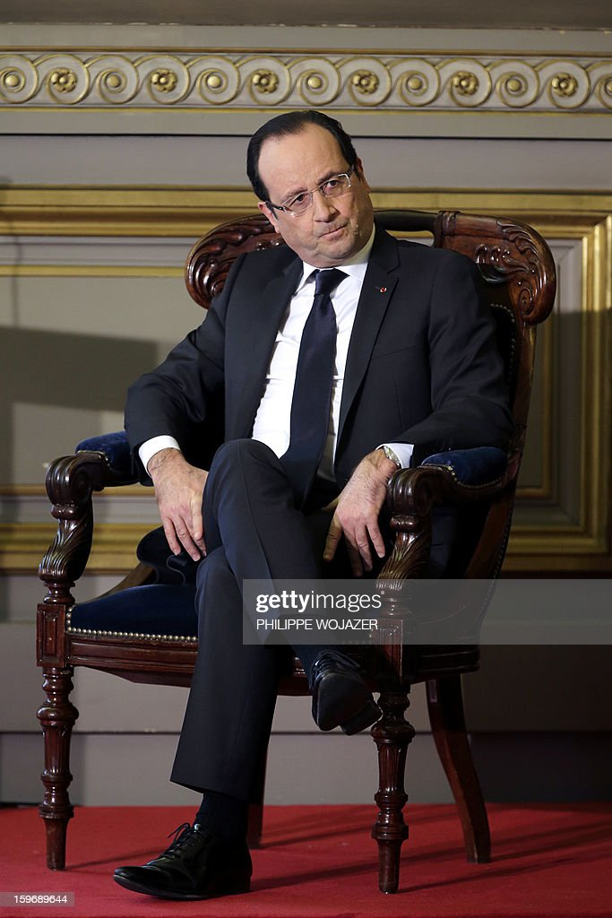 French President Francois Hollande attends the traditional New Year ceremony which reopens France's highest court (Cour de Cassation) in Paris, on January 18, 2013.