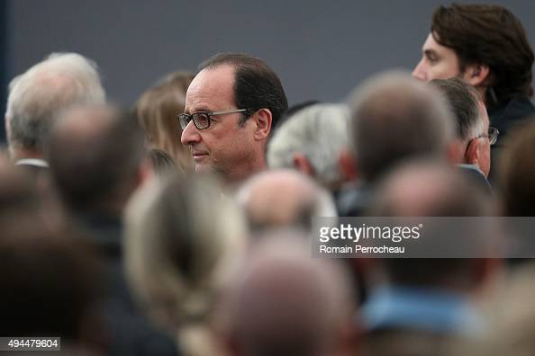 French President Francois Hollande before the ceremony in memory of the victims of French bus crash on October 27 2015 in Petit Palais et Cornemps...