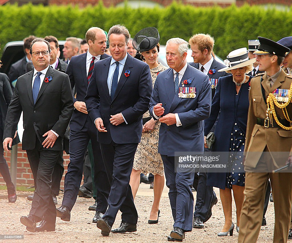 French President Francois Hollande, Britain's Prince William, Britain's Prime Minister David Cameron, Britain's Princess Catherine, Britain's Prince Charles, Britain's Prince Harry and Britain's Princess Camilla march towards the Thiepval Memorial to attend a ceremony marking the 100th anniversary of the World War I battle at the River Somme. Under grey skies, unlike the clear sunny day that saw the biggest slaughter in British military history a century ago, the commemoration kicked off at the deep Lochnagar crater, created by the blast of mines placed under German positions two minutes before the attack began at 7:30 am on July 1, 1916. / AFP / FRANCOIS