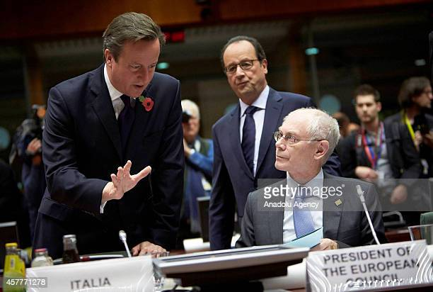French President Francois Hollande British Prime Minister David Cameron and President of the European Council Herman van Rompuy are seen during the...