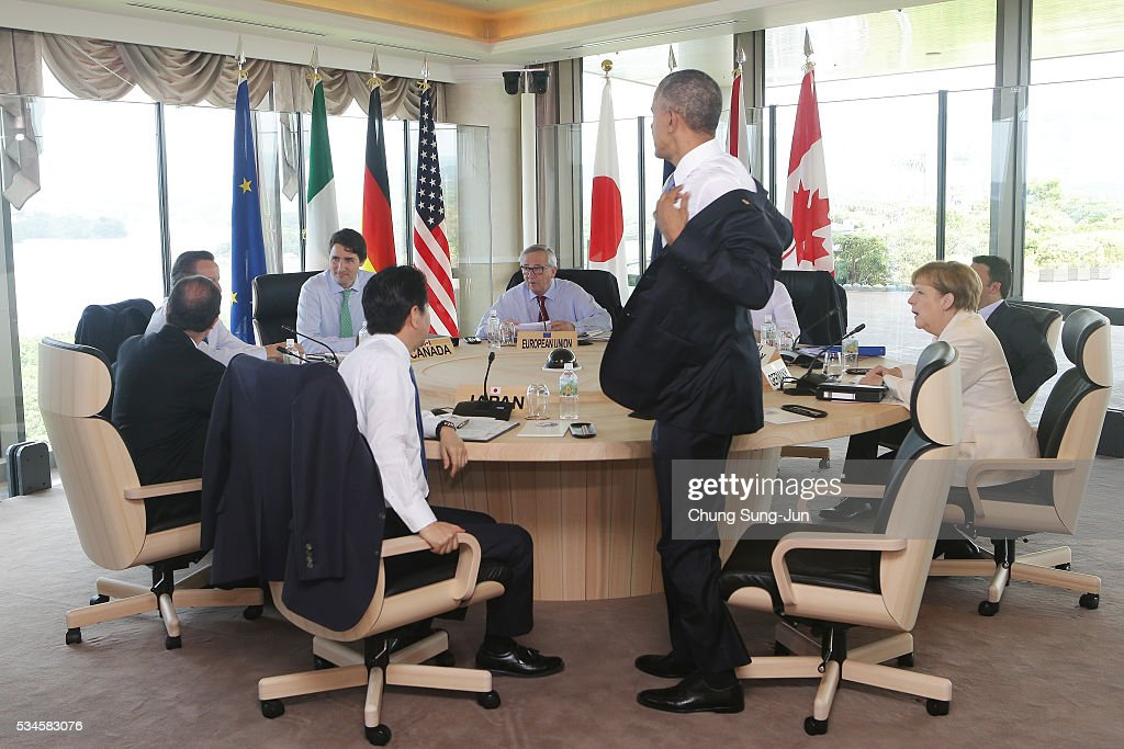 French President Francois Hollande, British Prime Minister David Cameron, Canadian Prime Minister Justin Trudeau, Japanese Prime Minister Shinzo Abe, European Commission President Jean-Claude Juncker, U.S. President Barack Obama, German Chancellor Angela Merkel and Italian Prime Minister Matteo Renzi prepare for G7 Working Session on May 27, 2016 in Kashikojima, Japan. In the two-day summit, the G7 leaders are scheduled to discuss the pressing global issues including counter-terrorism, energy policy, and sustainable development.