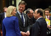 French President Francois Hollande Danish Prime Minister Helle ThorningSchmidt and Prime Minister of the Netherlands Mark Rutte are seen during a...