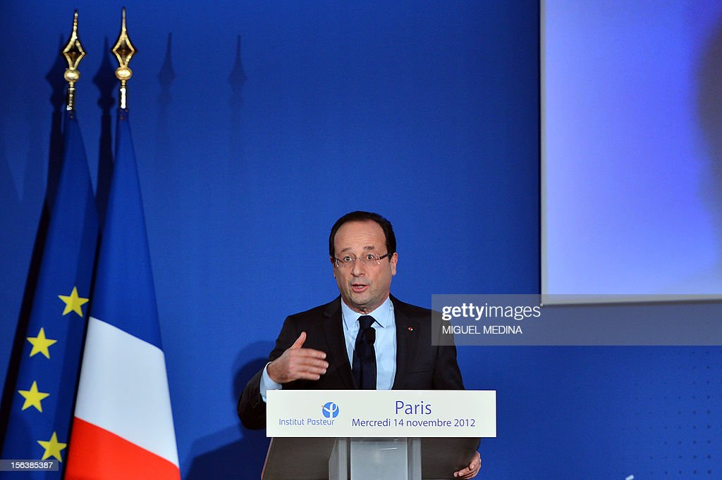 French President Francois Hollande delivers a speech after a visit at the Pasteur Institute to inaugurate the new department of the Emerging diseases on November 14, 2012 in Paris.
