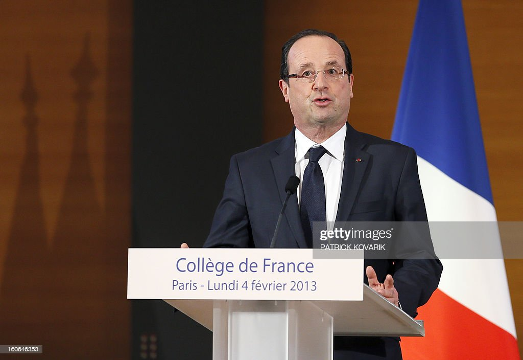 French president Francois Hollande delivers a speech after visiting the College de France, one of the most prestigious higher education and research establishment in France, on February 4, 2013 in Paris.
