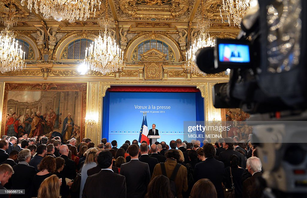 French president Francois Hollande delivers a speech as he attends a New Year wishes ceremony for The press at the Elysee Palace in Paris, on January 16, 2013.