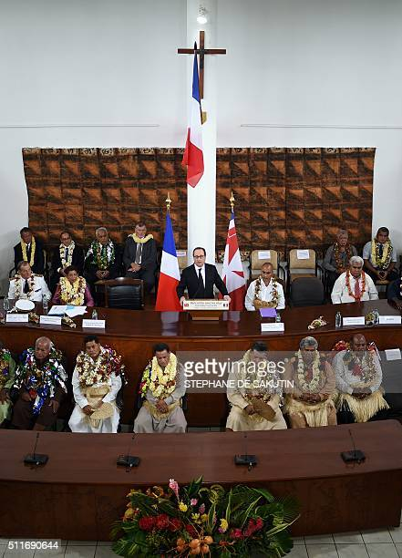 French President Francois Hollande delivers a speech at the territorial Assembly in Wallis island on February 22 during his twodays visit in the...