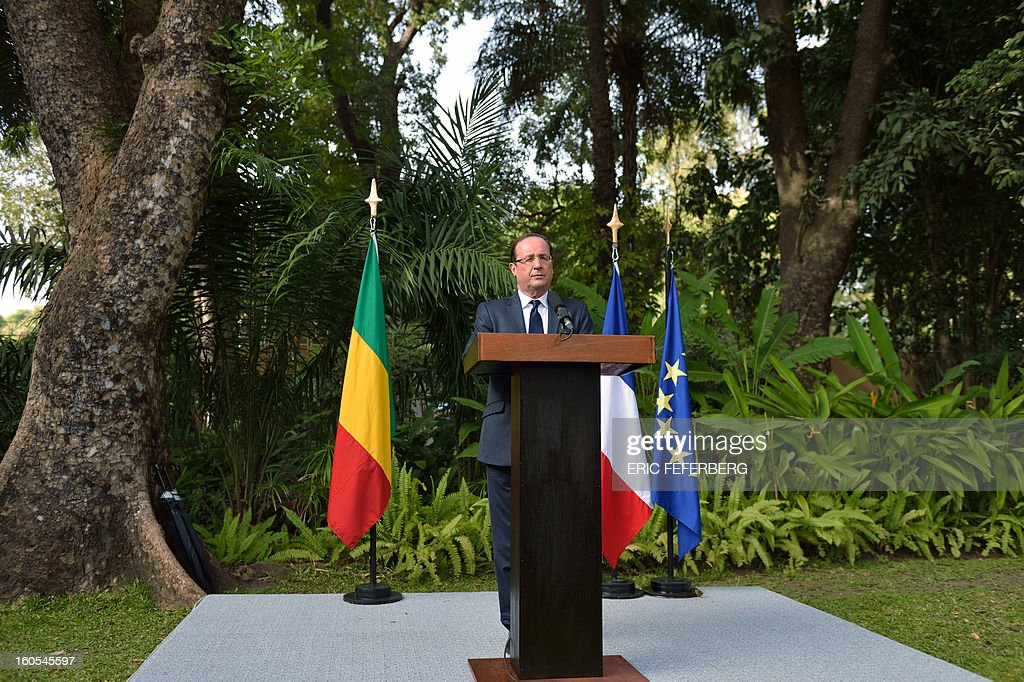 French President Francois Hollande delivers a speech at the residence of the French ambassador in Mali on February 2, 2013 in Bamako. Hollande called on Africans to take over the fight against extremism as he received a rapturous welcome today in Mali, where a French-led offensive has driven back Islamist rebels from the north.