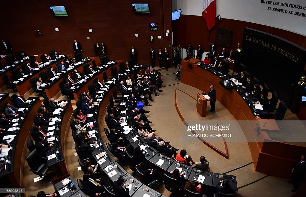 French President Francois Hollande delivers a speech at the Senate in Mexico City on April 10 2014 The presidents of France and Mexico kickstarted...