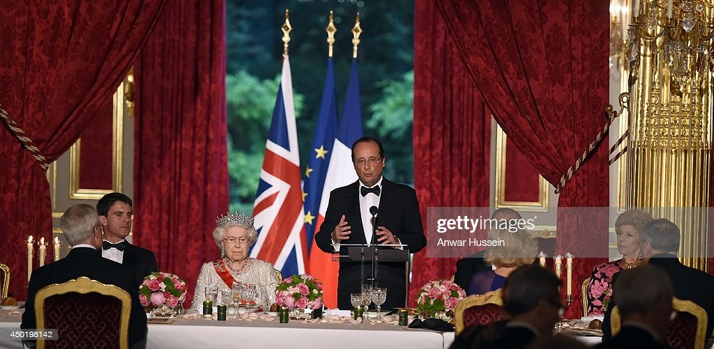 French President Francois Hollande delivers a speech during a State Banquet in Honour of Queen Elizabeth ll at the Elysee Palace on June 6 2014 in...