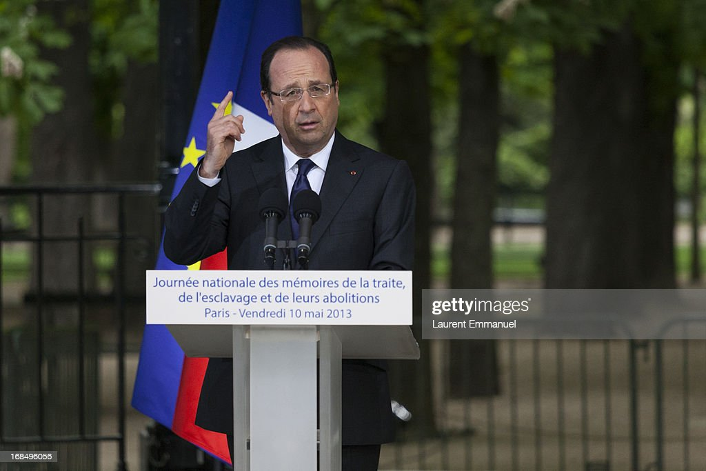 French President Francois Hollande delivers a speech during a ceremony marking the abolition of slavery, in the Jardins du Luxembourg on May 10, 2013 in Paris, France. Taubira Law was passed in May 2001 acknowledging slavery and the Atlantic slave trade as crimes against humanity.
