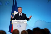 French President Francois Hollande delivers a speech during a ceremony marking the first anniversary of the energy transition law at the Elysee...