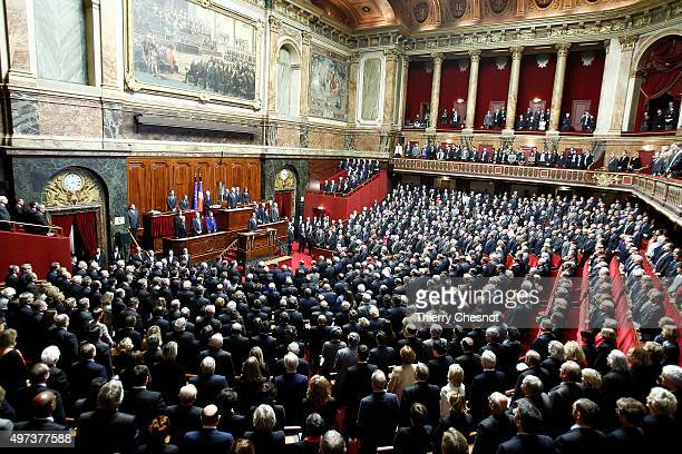 French President Francois Hollande delivers a speech during an exceptional joint gathering of both of the French houses of parliament on November 16...