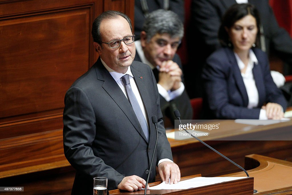 French President Francois Hollande delivers a speech during an exceptional joint gathering of both of the French houses of parliament on November 16, 2015 in Versailles, France. During his speech, the French President expressed his commitment to 'destroying' Islamic State (IS), following Friday's terrorist attacks which left at least 129 people dead and hundreds more injured.