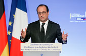 French president Francois Hollande delivers a speech during the FranceGermany digital conference at the Elysee palace on October 27 2015 in Paris...