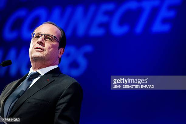 French President Francois Hollande delivers a speech during the inauguration of the 'Cite de l'Objet Connecte' in SaintSylvaind'Anjoy near Angers...