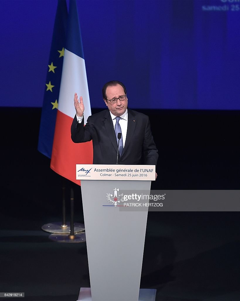 French President Francois Hollande delivers a speech during the general assembly of the National Union of Family Associations (Union Nationale des Associations Familiales, UNAF) on June 25, 2016 in Colmar, eastern France. / AFP / PATRICK