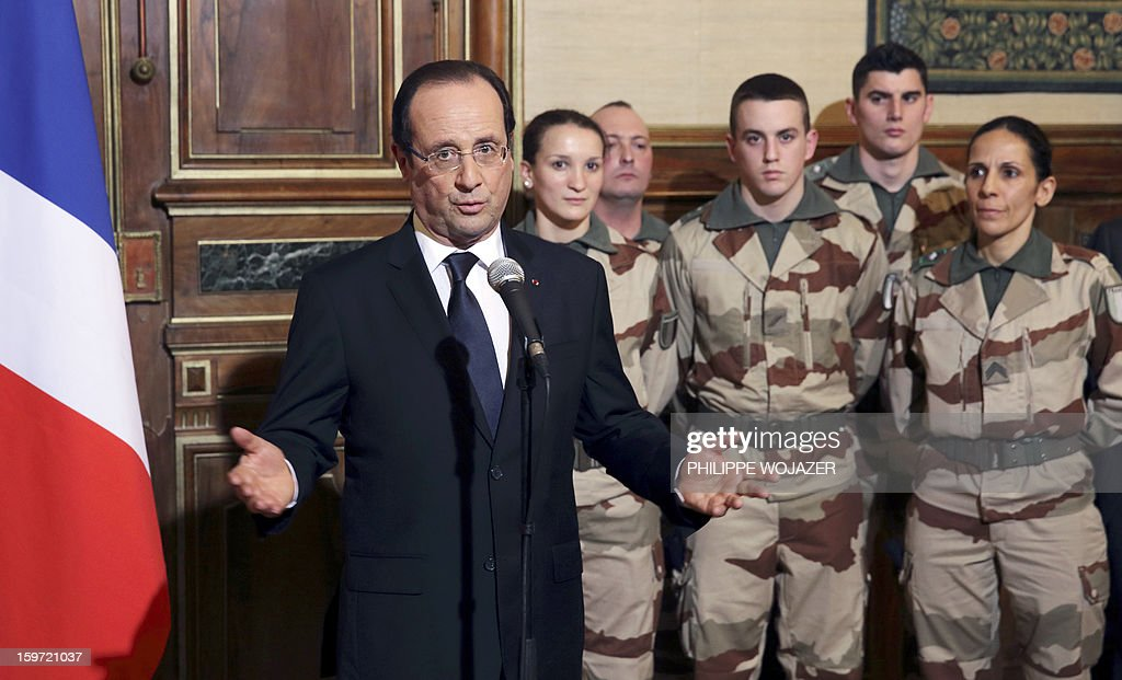 French President Francois Hollande delivers a speech to soldiers of the 126 RI (Infantry Regiment) who are due to leave for Mali, during a meeting in Tulle, central France, on January 19, 2013.