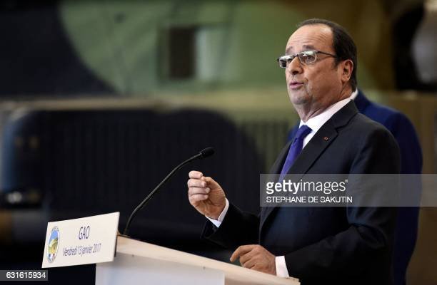 French President Francois Hollande delivers a speech to the troops of France's Barkhane counterterrorism operation in Africa's Sahel region in Gao...