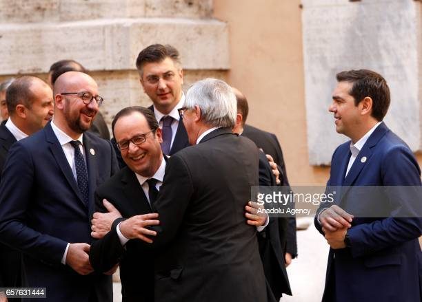 French President Francois Hollande EU Commission JeanClaude Juncker Belgian Prime Minister Charles Michel and Greek Prime Minister Alexis Tsipras...