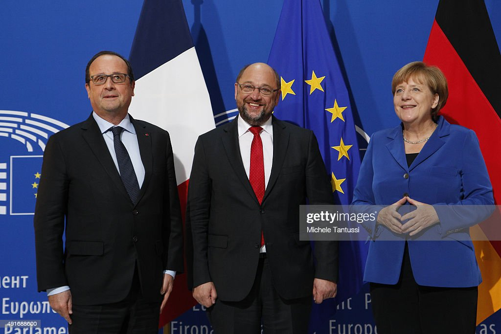 French president Francois Hollande, EU Parliament's President <a gi-track='captionPersonalityLinkClicked' href=/galleries/search?phrase=Martin+Schulz&family=editorial&specificpeople=598638 ng-click='$event.stopPropagation()'>Martin Schulz</a> and Germany's Chancellor <a gi-track='captionPersonalityLinkClicked' href=/galleries/search?phrase=Angela+Merkel&family=editorial&specificpeople=202161 ng-click='$event.stopPropagation()'>Angela Merkel</a> pose ahead of their joint speech to the members of the European Parliament in the plenary room of the EU Parliament on October 7, 2015 in Strasbourg, France.