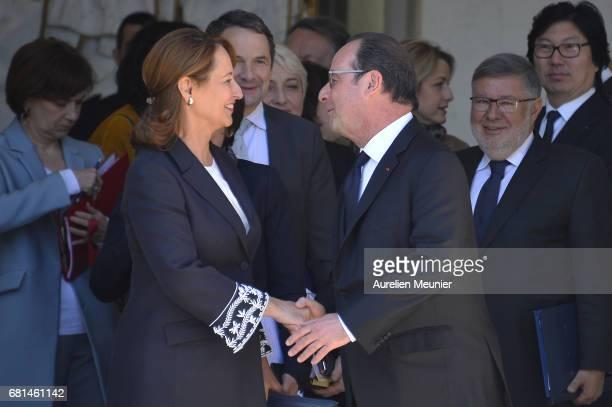 French President Francois Hollande formally says goodbye Segolene Royal French Minister of Ecology Sustainable Development and Energy as she leaves...