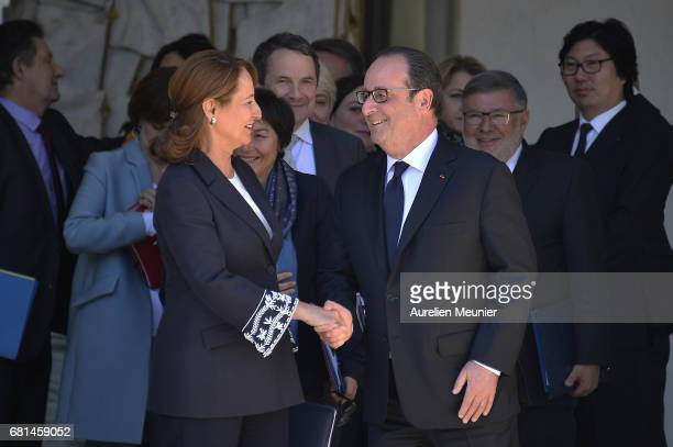 French President Francois Hollande formaly says goodbye Segolene Royal French Minister of Ecology Sustainable Development and Energy as she leaves...